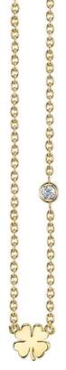 Sydney Evan Syd by 14K Yellow Gold Plated Sterling Silver Diamond Clover Pendant Necklace - 0.015 ctw