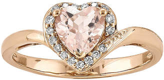FINE JEWELRY Heart-Shaped Genuine Morganite and 1/10 CT. T.W. Diamond 14K Rose Gold Ring