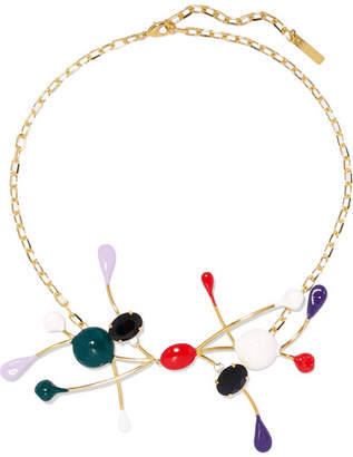 Marni Gold-plated, Enamel And Crystal Necklace - Red