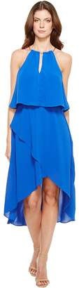 Adrianna Papell Gauzy Crepe Popover High-Low Dress with Wrap Skirt and Hardware on Neckline Women's Dress