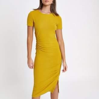 River Island Womens Yellow ruched short sleeve midi dress