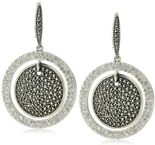 Judith Jack Sterling Silver, Marcasite and Crystal Disc Drop Earrings