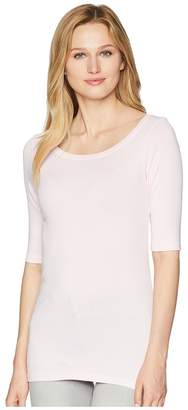 Michael Stars Supima Elbow Sleeve Wide Scoop Women's Long Sleeve Pullover