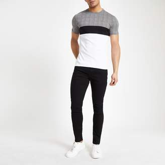 River Island Mens White check print muscle fit T-shirt