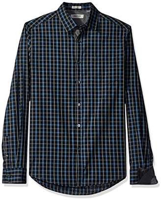 Kenneth Cole Reaction Men's Long Sleeve Button Down Collar Clean Plaid