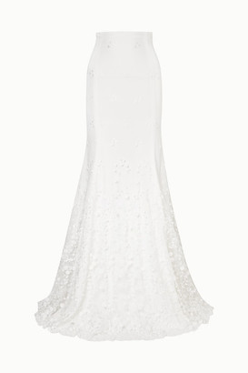Rime Arodaky Salem Embroidered Tulle And Crepe Maxi Skirt - White