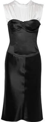 Alexander Wang Layered Satin And Silk-blend Dress - Black