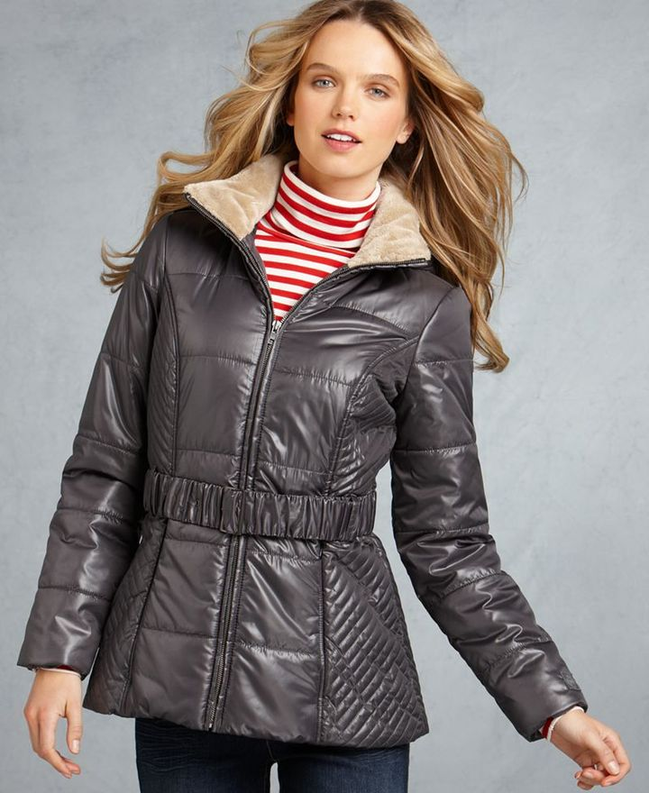 Tommy Hilfiger Coat, Puffer Detachable Hood Belted Faux Fur Collar