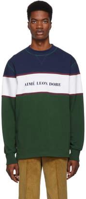Leon Aime Dore Multicolor Colorblocked Logo Sweatshirt