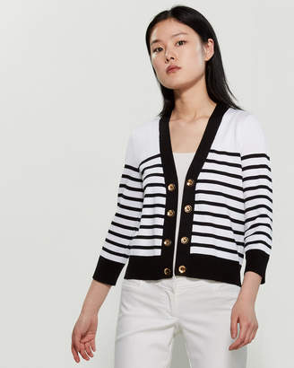 Cable & Gauge White & Black Striped Button Accent Shrug
