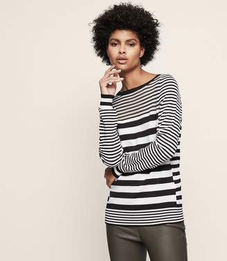 Reiss Marlow Striped Jumper With Sheer Top Panel