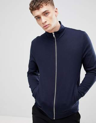 Asos DESIGN jersey track jacket in navy