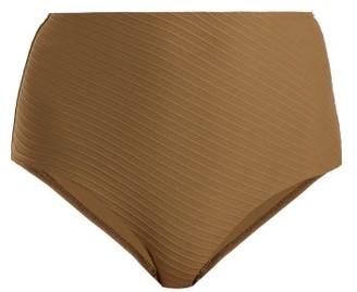 Zimmermann Textured High Rise Bikini Briefs - Womens - Khaki