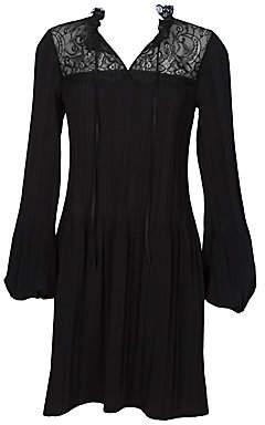 Maje Women's Rockette Lace-Yoke Pleated Dress