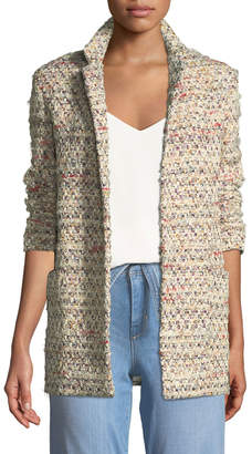 ADAM by Adam Lippes Open-Front Long-Sleeve Cotton Tweed Long Blazer