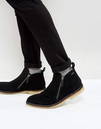 Kurt Geiger London Otis Suede Zip Boots In Black