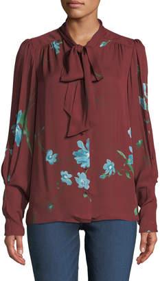 Joie Angeletta Floral Tie-Neck Silk Blouse