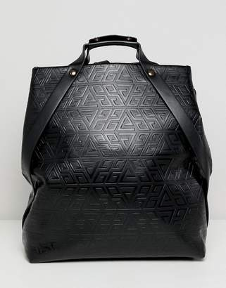 Asos Design DESIGN embossed top handle backpack