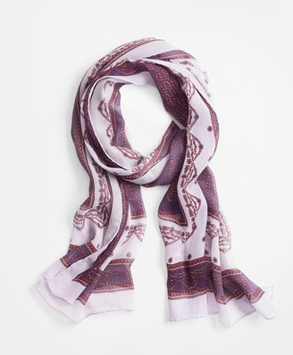 Brooks Brothers Ribbon-Print Silk Chiffon Oblong Scarf