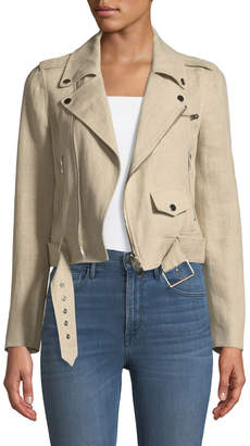 Theory Shrunken Integrate Linen Moto Jacket
