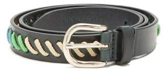Isabel Marant Zitty Whipstitched Leather Belt - Womens - Dark Blue