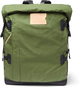 Basile Bleu de Chauffe Bancha Leather-Trimmed Waxed Cotton-Ripstop Backpack