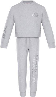 Moncler Heathered Sweatshirt w/ Matching Logo Sweatpants, Size 4-6