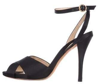 Saint Laurent Satin Peep-Toe Sandals
