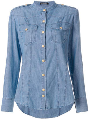Balmain collarless denim shirt