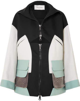 Valentino Cutout Color-block Shell, Cotton-canvas And Velvet Jacket - Cream