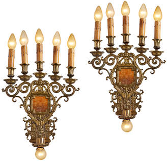 Rejuvenation Pair of Monumental 6-Light Candelabra Sconces