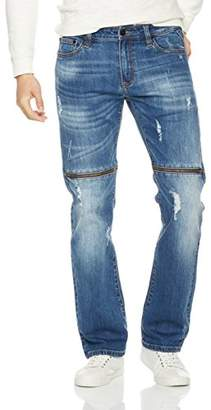 """Nothing but Denim Men's Straight Fit Ripped Distressed Destroyed Zipper Jean W33/L30-Waist(34-35"""")"""