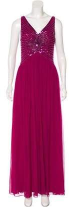 Aidan Mattox Sleeveless Sequined Gown