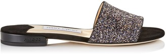 Jimmy Choo JONI FLAT Twilight Glitzy Glitter Fabric Slides