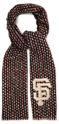 Gucci Sf Sequin Embellished Tweed Scarf - Womens - Red