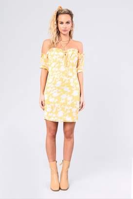 Glamorous Womens **Summer Floral Bardot Dress By Yellow