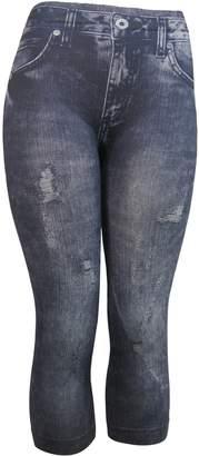 J Ann Women Denim-Like Printed Capri Leggings (S/M, )