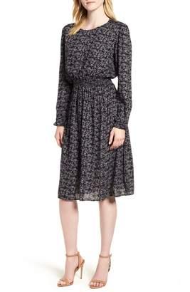 Velvet by Graham & Spencer Floral Gauze Smocked Waist Dress