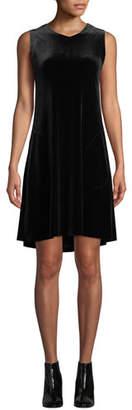 Norma Kamali Sleeveless Velvet V-Neck Swing Dress