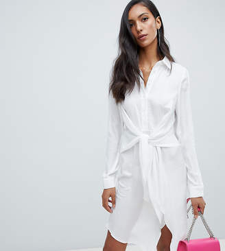 Missguided Tall tie waist shirt dress in white