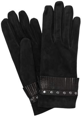 Portolano Mario SUEDE GLOVES WITH FRINGES & STUDS