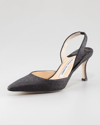 Manolo Blahnik Carolyne Glitter Mid-Heel Halter, Black