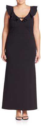 ABS by Allen Schwartz ABS, Plus Size Women's Deep V-Neck Ruffle Gown - Black, Size 1x (14-16)