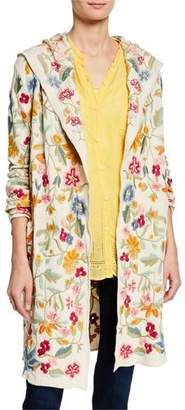 Johnny Was Plus Size Floral-Embroidered Open-Front Hooded Duster