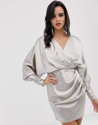Asos Edition EDITION drape wrap mini dress in satin