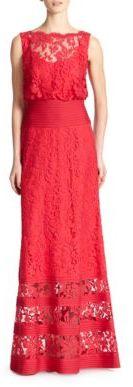 Tadashi Shoji Lace Banded-Waist Gown $428 thestylecure.com