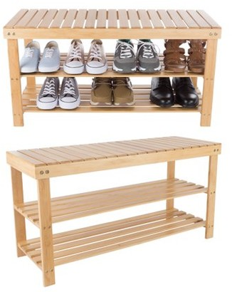 Bamboo Shoe Rack Bench with 2 Shelves-Eco-Friendly Natural Wood Seat Storage and Organization-For Bedroom, Entryway, Hallways, Closets by Lavish Home