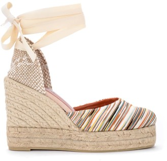 Castaner By Missoni Carina Multicolor Striped Fabric Wedge Sandal.