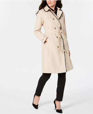Kate Spade Double-Breasted Contrast-Trim Trench Coat