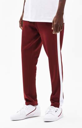 PacSun Side Stripe Tricot Burgundy Track Pants